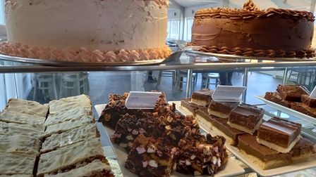 A range of cakes for sale at a Devon cafe.