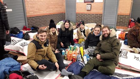 People ready for The Benjamin Foundation's Sleep Out Event at Carrow Road, Norwich, in 2019