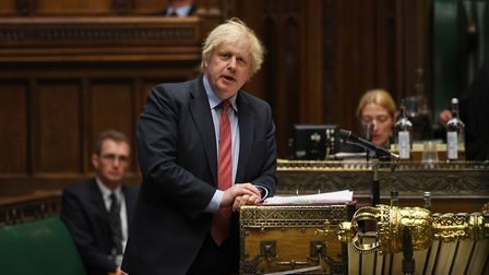 Boris Johnson at PMQs in the House of Commons. Photograph: Jessica Taylor/UK Parliament.