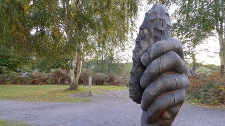 Wooden sculptures and Autumn foliage can be found at Shorne Country Park in Shorne, Kent as part of the Kent Downs AONB