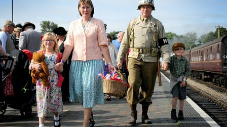 North Norfolk Railway's 1940s weekend. Saturday at Sheringham Station. David and Julie Hines, from D