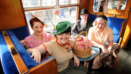 North Norfolk Railway's 1940s weekend. Saturday at Sheringham Station. Left to right, Elspeth Dutton