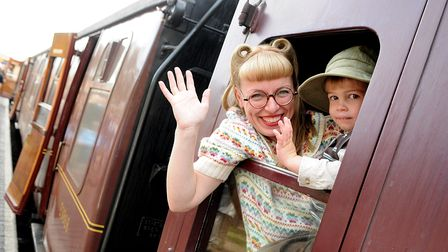 North Norfolk Railway's 1940s weekend. Saturday at Sheringham Station. Lynsey Martin and her son Jac