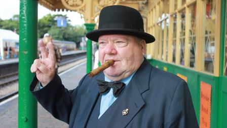 Winston Churchill giving a victory salute to North Norfolk Railway passengers at last year's 1940s w