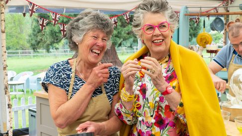 Maggie with Prue Leigh during the filming of The Great British Bake Off