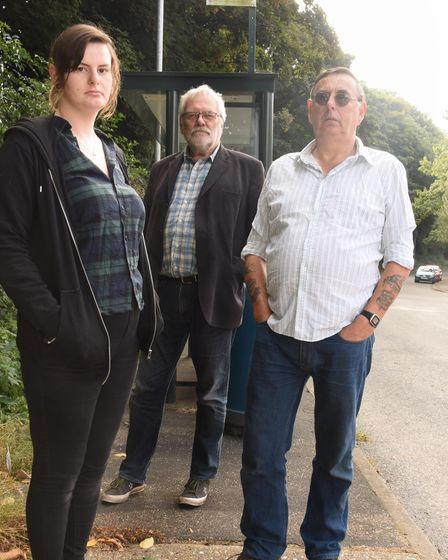 Norfolk county councillor, Steve Morphew, centre, with Bronnie Dale and her dad, Alan, in Fiddle Woo