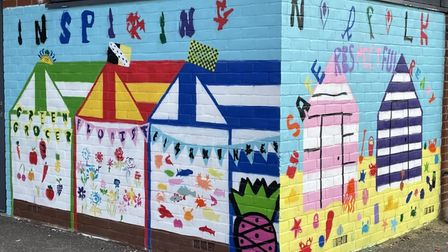The finished artwork inspired by city market at Queen's Hill Primary School.