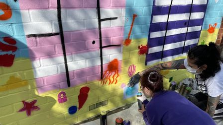 Children worked with local artist Knapple to create the artwork inspired by Norwich market.