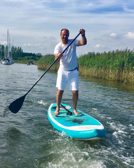 Andy Belcher on the River Frome at Wareham, downstream from the quay