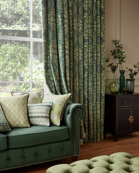 Green full length curtains and soft furnishings from Just Fabrics in the Cotswolds