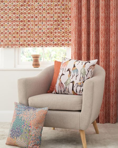 Patterned made to measure blinds, curtains and cushions from Just Fabrics in the Cotswolds