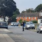 The police cordon put in place in Beatty Road, Ipswich