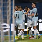 West Ham's Michail Antonio, second right, celebrates after scoring his side's opening goal during th