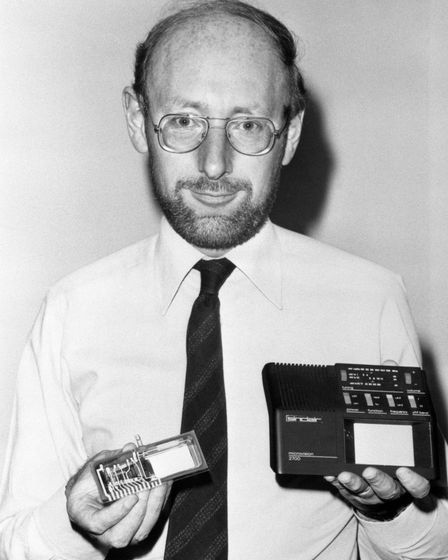 Sir Clive Sinclair with the prototype of a new multi-standard flat screen television, the 'Microvision'