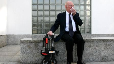 File photo dated 12/07/06 of Sir Clive Sinclair showing off his latest invention, the 'A-bike'
