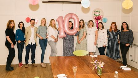 The Food Marketing Experts 10th birthday celebrations. Managing director, Vhari Russell, is in the middle.