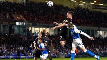 West Bromwich Albion's Jordan Hugill attempts a header on goal during the Sky Bet Championship match