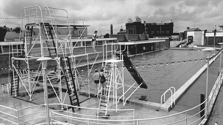 The diving boards at the Gorleston open-air swimming pool in June 1965.