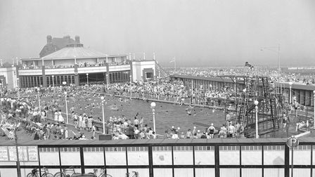 Gorleston Lido in the 1950s with the Floral Hallin the background.