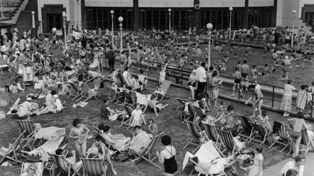 The outdoor pool at Gorleston was a magnet for bathers and sun worshippers as this busy scene from the 1950s.