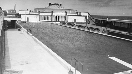 A calm and tranquil scene at the Gorleston open-air swimming pool in 1983.