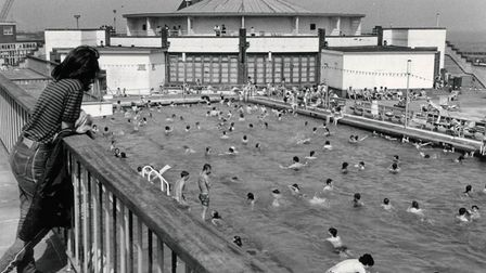 The view from the balcony overlooking Gorleston Lido on May 30, 1981.