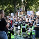 Sophie Bichener, who lives in Stevenage's Vista Tower, spoke at the leaseholders rally