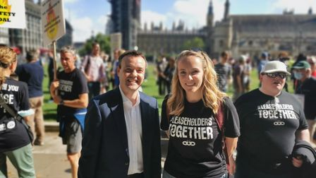 Stephen McPartland and Sophie Bichener at the Cladiators rally in Parliament Square