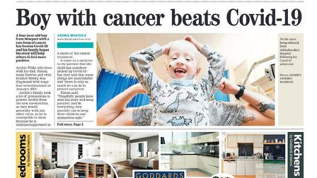 Saffron Walden Reporter newspaper front page from April 2020. Headline reads: Boy with cancer beats Covid-19