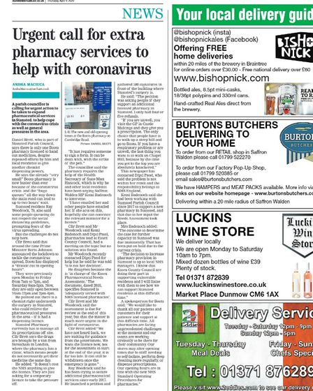 Dunmow Broadcast page with the headline: Urgent call for extra pharmacy services to help with coronavirus