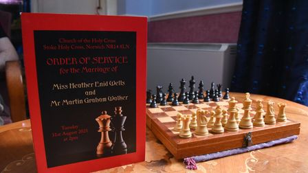 Norwich couple Heather and Martin Walker marry after meeting over the chessboard. Picture: Danielle