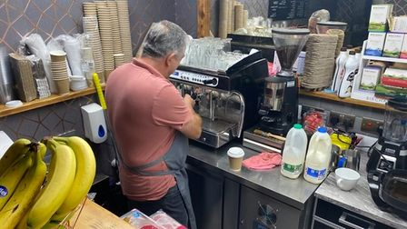Ray De'ath, 59, making a coffee at Sista Barista, a new coffee shop in Acle.