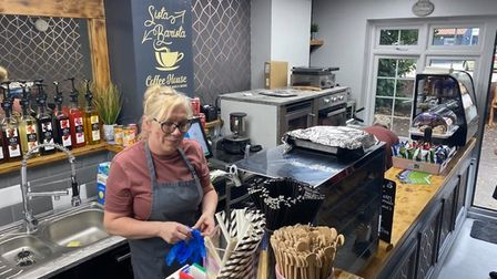 Tracey Cook, 51, behind the counter at Sista Barista, a new coffee shop in Acle.