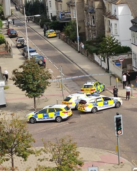 London Road South in Lowestoft is partly closed due to a police incident.