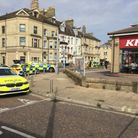 London Road South in Lowestoft is partly closed due to an incident near KFC.