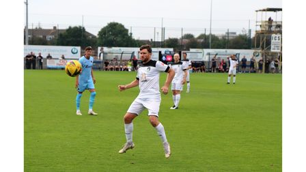 Weston AFC's Dayle Grubb in action against Taunton Town.