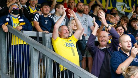 Goal celebrations for Connor Lemonheigh-Evans of Torquay United during the National League match bet