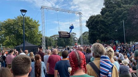 An acrobat at the Out There Festival in Great Yarmouth