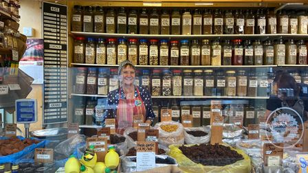 Jane Wirgman on the Herb and Spices stall in Norwich Market
