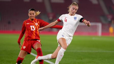 England's Leah Williamson is fouled by North Macedonia's Julija Zivikj which results in a penalty ki