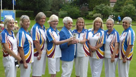 The successful Harpenden ladies squad who won the district's double rink championship.