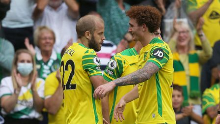 Teemu Pukki of Norwich celebrates scoring his side's 1st goal during the Premier League match at Car