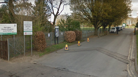 The entrance to the Old Catton Recreation Ground car park