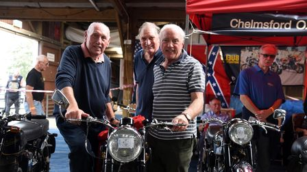 Ken, Brian and John Bond. Copdock motor cycle show at Trinity Park PICTURE: CHARLOTTE BOND