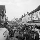 A busy market day in St Albans in 1972.