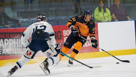 Raiders captain Aaron Connolly drives the puck into the zone against Sheffield Steeldogs