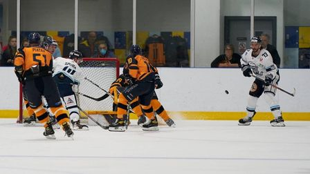 Raiders in action against Sheffield Steeldogs at the Sapphire Ice and Leisure Centre