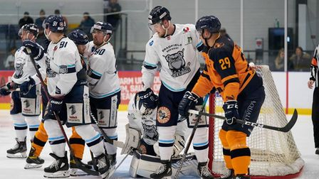 A goal mouth scramble between Raiders and Sheffield Steeldogs