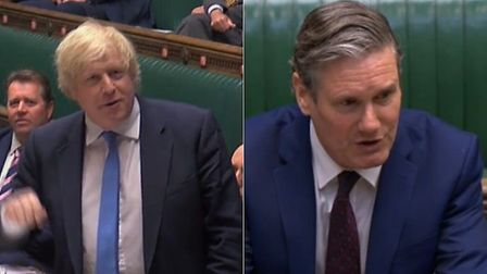 Labour leader Sir Keir Starmer (R) offered to swap places with Boris Johnson during PMQs; Parliament