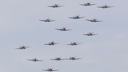 Spitfire flypast at the 2021 Battle of Britain Air Show at IWM Duxford.